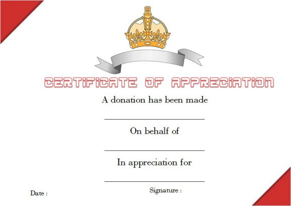 Donation Thank You Certificate Template