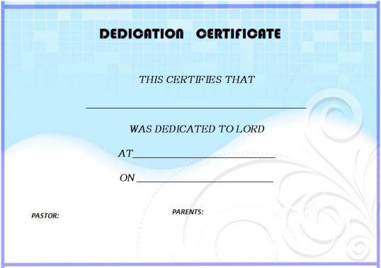 free baby dedication certificate