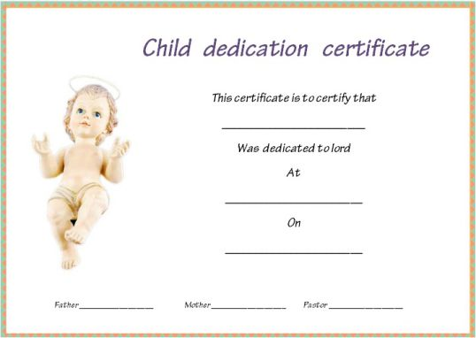 free fillable baby dedication certificate