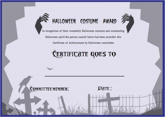 Halloween Costume Certificates With Best Designs And