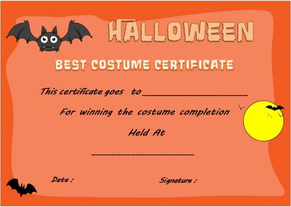Halloween Innovative Costume Award Certificate Template