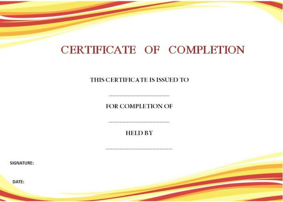 certificate of completion template 55 word templates editable