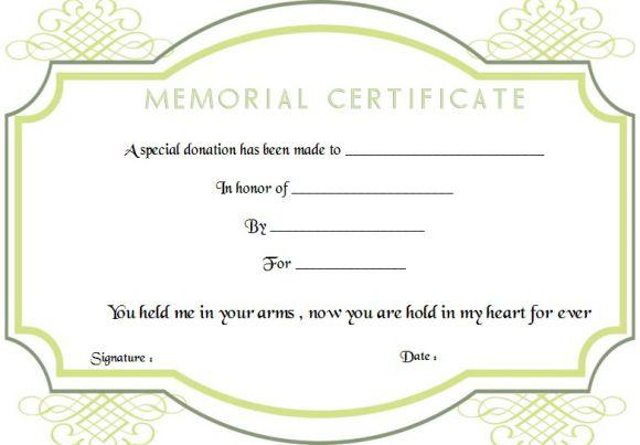 Memorial Donation Certificate Template