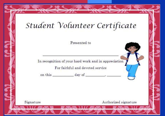 student volunteer certificate template