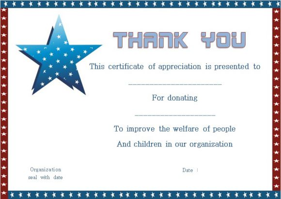 Thank You For Donation Certificate Template