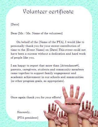 volunteer certificate sample letter