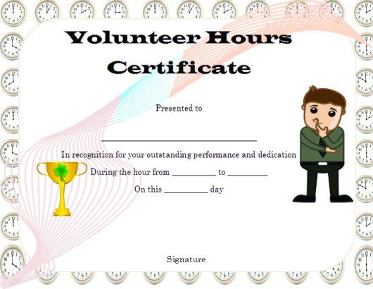 volunteer hours certificate template