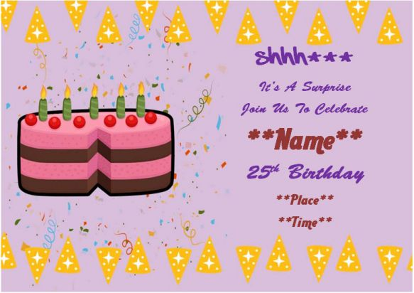 25th Surprise Birthday Party Invitation
