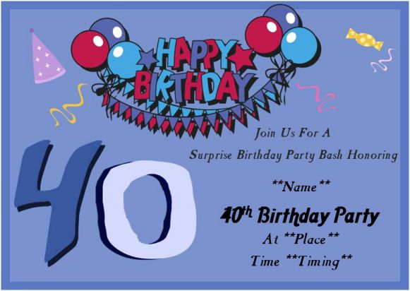 40th Birthday Surprise Party Invitation Card