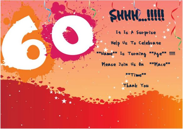 60th birthday surprise party invitation card