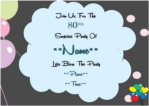 80th surprise birthday party invitation template