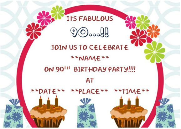 90th surprise birthday party invitation