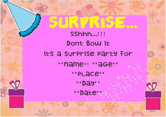 Surprise 13th birthday party invitation