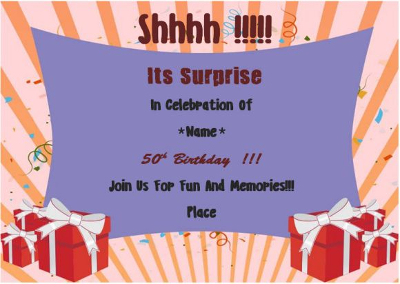 Surprise 50th birthday party invitation card