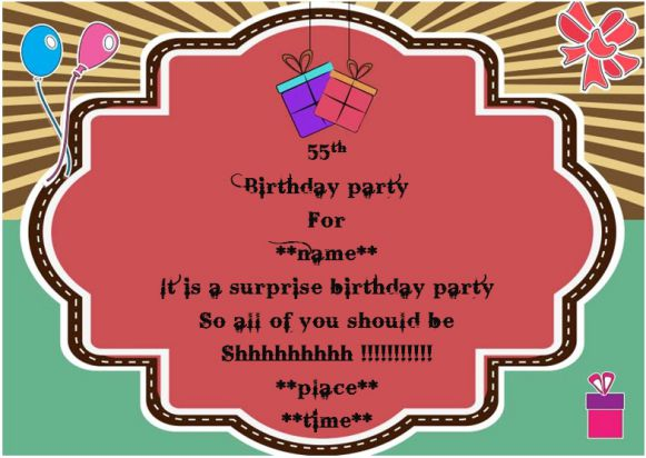 Surprise 55th birthday party invitation