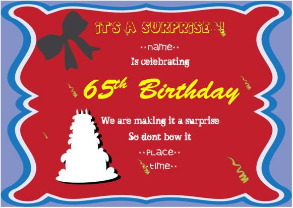 Surprise 65th birthday party invitation