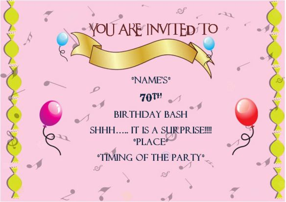Surprise 70th birthday party invitation template