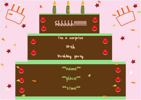 Surprise 85th birthday party invitation