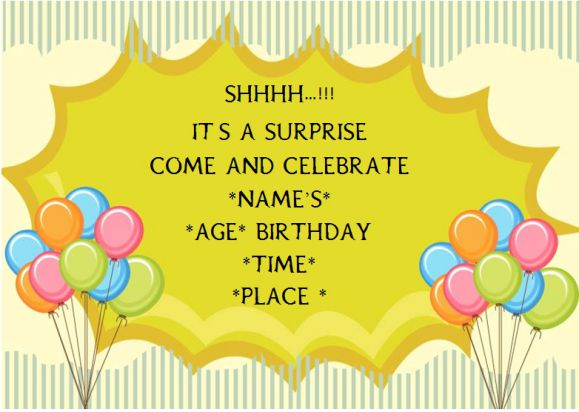Surprise birthday party invitation for adult