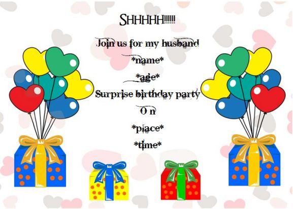 Surprise birthday party invitation for husband
