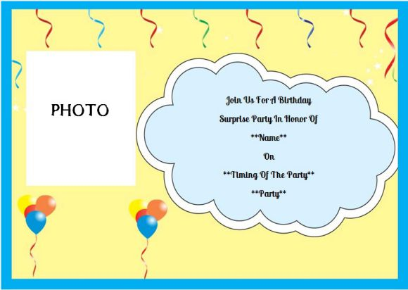 Surprise birthday party invitation with photo