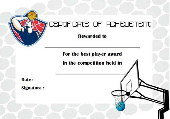 Basketball Achievement Certificate
