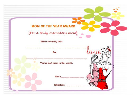 Best mom of the year certificate