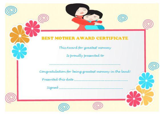 Best mother award certificate