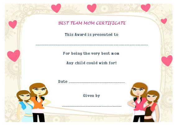 Best team mom certificate