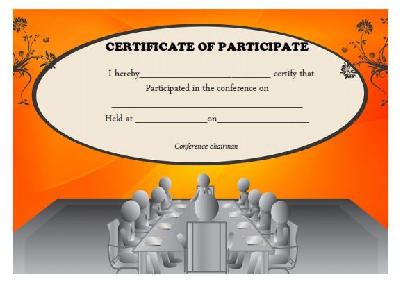 conference participation certificate template