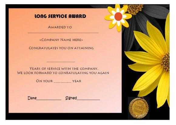 12 free long service award certificate samples wordings