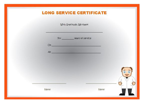 years of service certificate