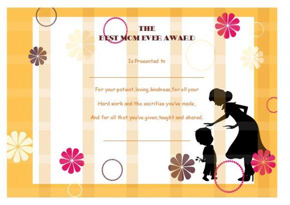 Printable best mom ever award