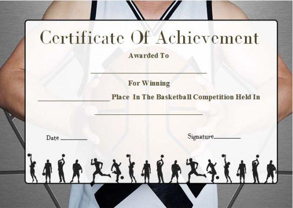 Basketball Camp Certificate Of Achievement