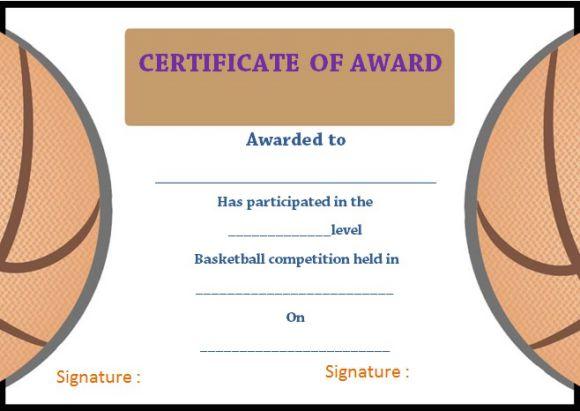 Basketball Camp Certificate Of Award