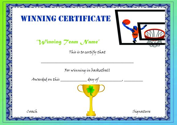 Basketball Camp Winner Certificate