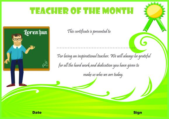 Certificate Of Recognition For Teacher Of The Month