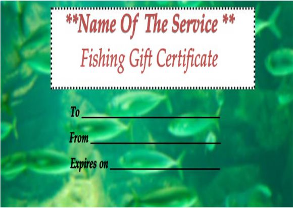 Free Fishing Gift Certificate Template