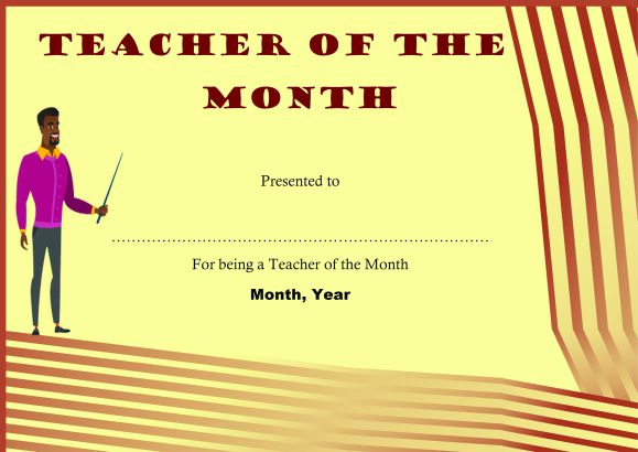 Free Printable Teacher Of The Month Certificate