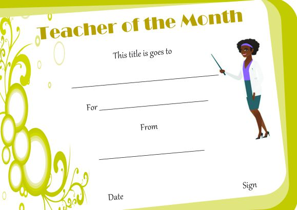 Free Teacher Of The Month Certificate