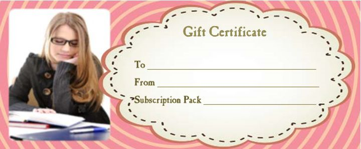 magazine subscription gift certificate template for her