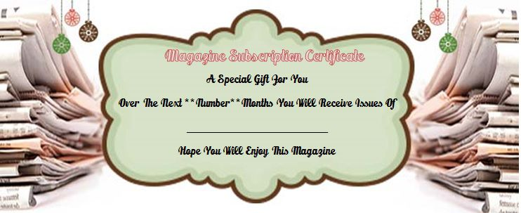 printable magazine subscription gift card template