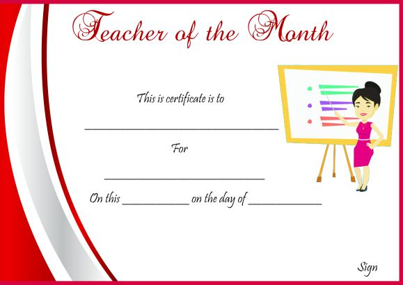 Sample Teacher Of The Month Certificate