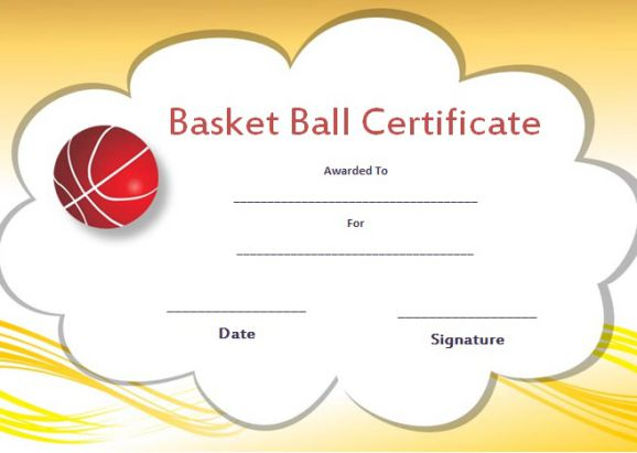 Simple Basketball Camp Certificate