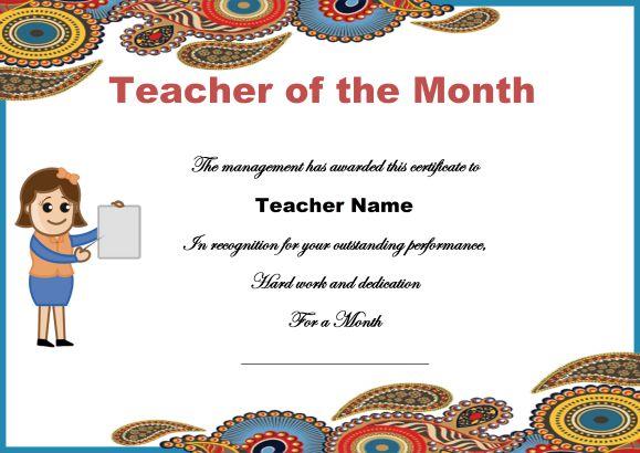 teacher of the month certificate templates 11 word award