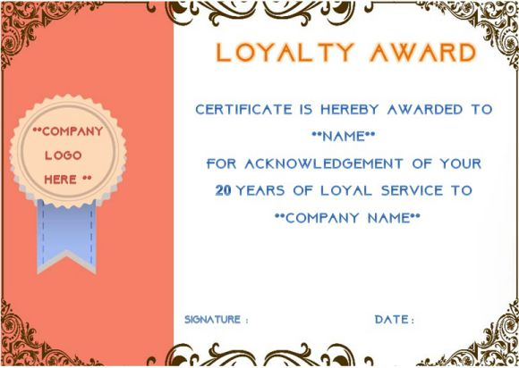 20 years of service certificate template