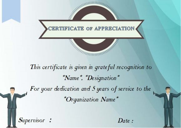 5 years of service certificate template