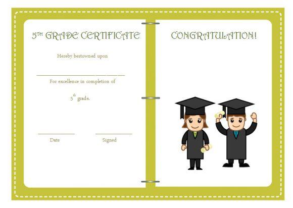 5th grade graduation certificate template 24 printable