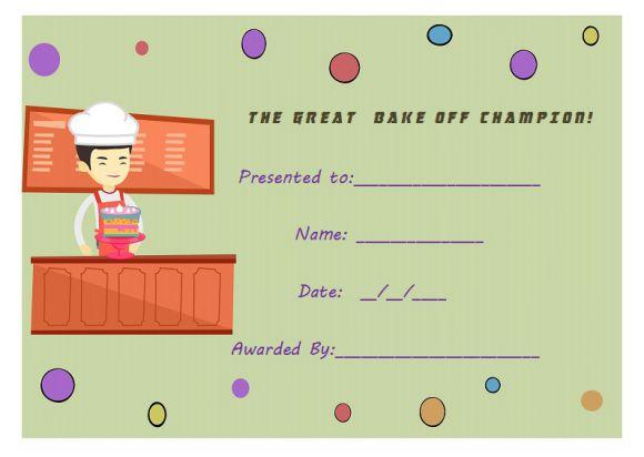 Bake off certificate