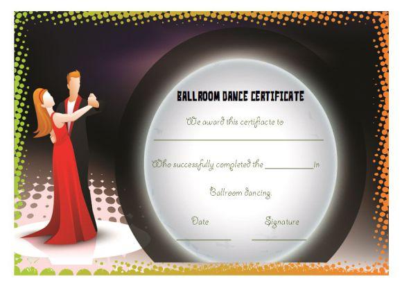 Ballroom dance certificate